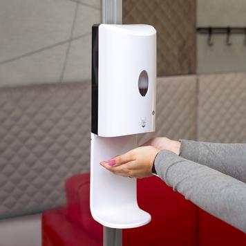 Sensor-Wall – nadgradnja z dezinfekcijskim razpršilnikom za raztegljive okvirje Stretchframes  & 30 Quattro-profile